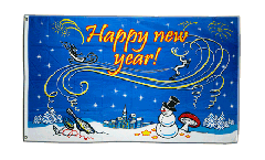 Happy New Year with snowman Flag