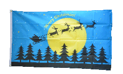 Merry Christmas reindeer sledge with moon Flag