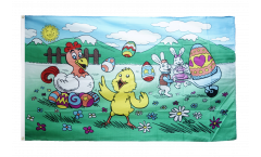 Happy Easter eggs and bunnies Flag