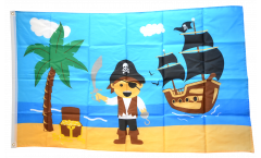 Pirate Island with treasure Flag - 3 x 5 ft. / 90 x 150 cm
