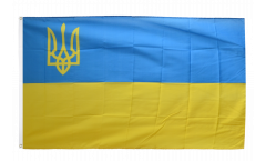 Ukraine with coat of arms on the left Flag - 3 x 5 ft. / 90 x 150 cm