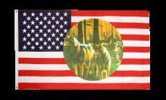 USA 3 wolfs Flag - 3 x 5 ft. / 90 x 150 cm