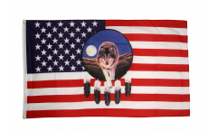 USA feather with wolf Flag - 3 x 5 ft. / 90 x 150 cm