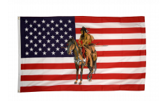USA Indian with horse Flag - 3 x 5 ft. / 90 x 150 cm