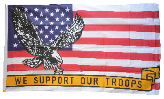 USA with eagle We support our troops Flag - 3 x 5 ft. / 90 x 150 cm