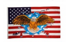 USA with wide eagle Flag - 3 x 5 ft. / 90 x 150 cm