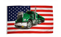 USA with green truck Flag - 3 x 5 ft. / 90 x 150 cm