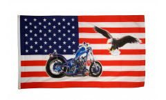 USA with motorbike Flag - 3 x 5 ft. / 90 x 150 cm