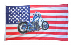 USA with motorbike without eagle Flag - 3 x 5 ft. / 90 x 150 cm