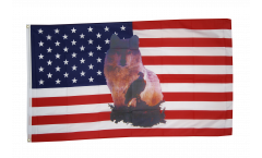 USA Wolf with eagle Flag - 3 x 5 ft. / 90 x 150 cm