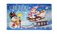 Winter with snowman Flag - 3 x 5 ft. / 90 x 150 cm