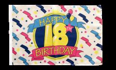 Happy Birthday 18 Flag - 12 x 18 inch