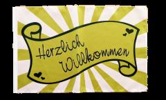 Herzlich Willkommen green Flag - 12 x 18 inch