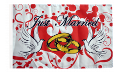 Just Married with doves Flag - 12 x 18 inch