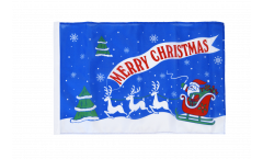 Merry Christmas Santa Claus with sledge Flag - 12 x 18 inch