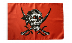 Pirate on red shawl Flag with sleeve