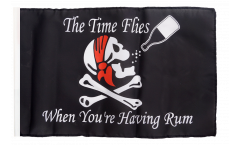 Pirate The Time Flies When You Are Having Fun Flag with sleeve