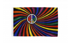 Rainbow Peace Swirl Flag - 12 x 18 inch