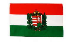 Hungary with coat of arms Flag with sleeve