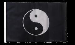 Ying and Yang black Flag - 12 x 18 inch