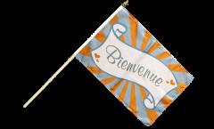 Bienvenue Hand Waving Flag - 12 x 18 inch