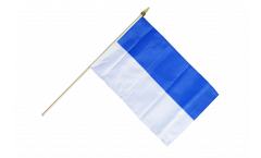 White-Blue Hand Waving Flag - 12 x 18 inch