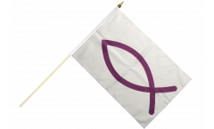 Ichthys Ichthus Hand Waving Flag - 12 x 18 inch