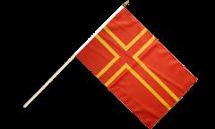 France Normandy St. Olaf Cross Hand Waving Flag - 12 x 18 inch