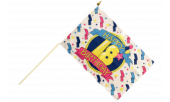 Happy Birthday 18 Hand Waving Flag - 12 x 18 inch