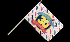 Happy Birthday 30 Hand Waving Flag - 12 x 18 inch