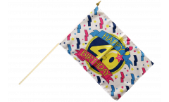 Happy Birthday 40 Hand Waving Flag - 12 x 18 inch