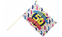 Happy Birthday 50 Hand Waving Flag - 12 x 18 inch