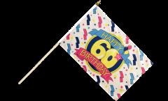 Happy Birthday 60 Hand Waving Flag - 12 x 18 inch