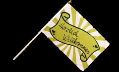 Herzlich Willkommen green Hand Waving Flag - 12 x 18 inch