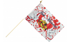 Just Married with doves Hand Waving Flag - 12 x 18 inch