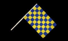 Checkered blue-yellow Hand Waving Flag - 2 x 3 ft.