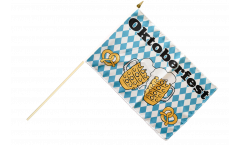 Oktoberfest Beer and Pretzel Hand Waving Flag - 12 x 18 inch