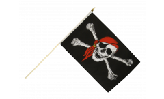 Pirate with bandana Hand Waving Flag - 12 x 18 inch