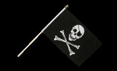 Pirate Skull and Bones Hand Waving Flag