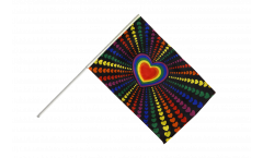 Rainbow Love Hand Waving Flag