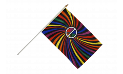Rainbow Peace Swirl Hand Waving Flag - 12 x 18 inch