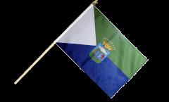 Spain El Hierro Hand Waving Flag - 12 x 18 inch