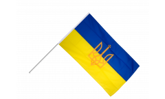 Ukraine with coat of arms Hand Waving Flag