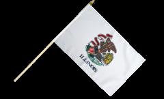 USA Illinois Hand Waving Flag - 12 x 18 inch