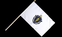 USA Massachusetts Hand Waving Flag - 12 x 18 inch