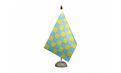 Checkered green-yellow Table Flag - 5.9 x 8.65 inch