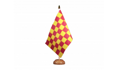 Checkered red yellow Table Flag - 5.9 x 8.65 inch