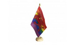 Rainbow with welsh dragon Table Flag - 5.9 x 8.65 inch