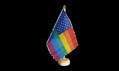 USA Rainbow Table Flag - 5.9 x 8.65 inch